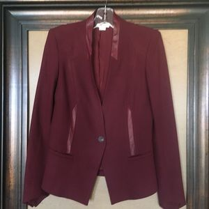 Helmut Lang dark red jacket with leather trim